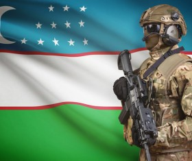 Uzbekistan flag and heavily armed soldiers HD picture