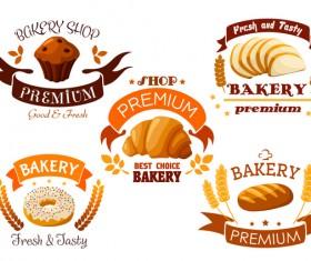 Vector bakery labels retro design set 01