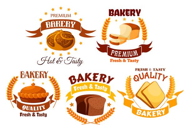 Vector bakery labels retro design set 02