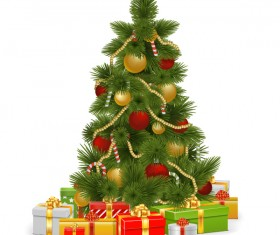 Vector christmas tree with gifts design 01