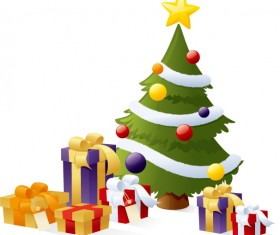 Vector christmas tree with gifts design 03