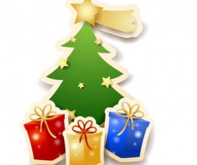 Vector christmas tree with gifts design 04