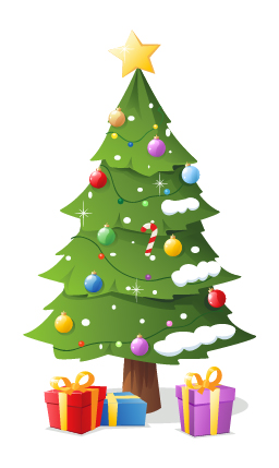 Vector christmas tree with gifts design 05
