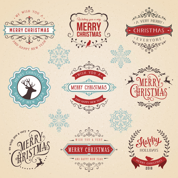 Vintage Christmas Typographic Design Set Vector