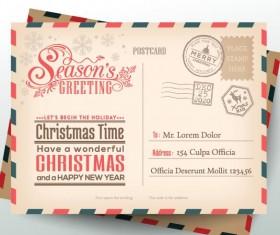 Vintage christmas envelope postcard vector 01