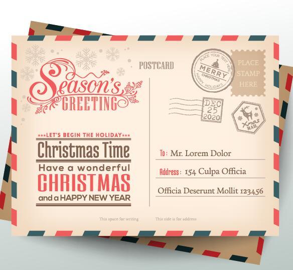 Envelope vector for free download vintage christmas envelope postcard vector 01 stopboris Choice Image