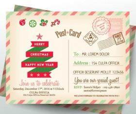 Vintage christmas envelope postcard vector 02