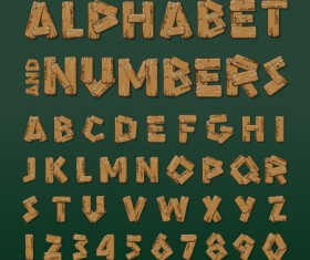 Vintage wood numbers with alphabet vectors