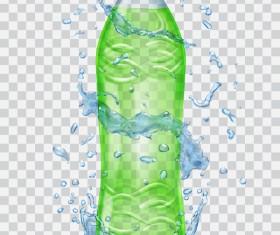 Water splashes with green bottles illustration vector