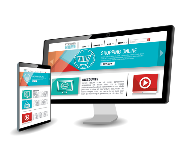 website template computer and mobile side style vector 01 vector web