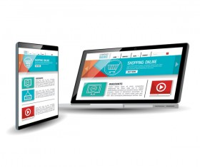 Website template computer and mobile side style vector 02