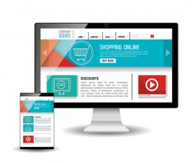 Website template computer and mobile side style vector 03
