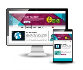 Website template computer and mobile side style vector 04