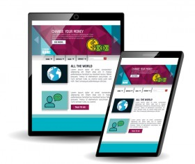 Website template computer and mobile side style vector 05