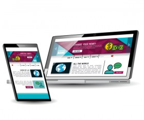 Website template computer and mobile side style vector 06
