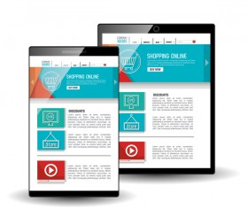 Website template computer and mobile side style vector 07