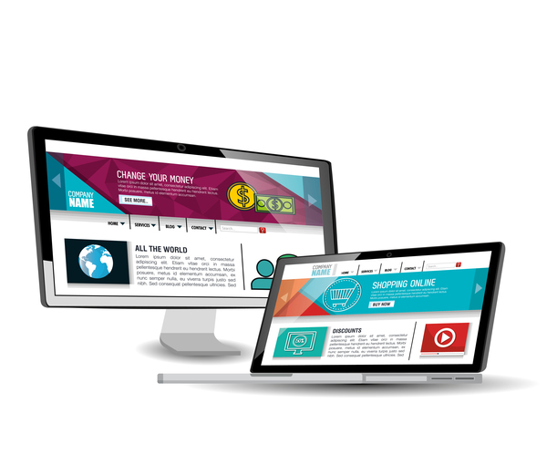 Website template computer and mobile side style vector 08