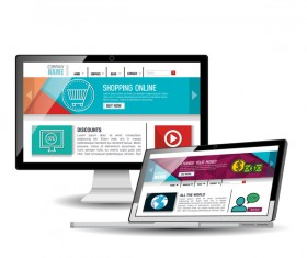 Website template computer and mobile side style vector 09