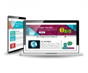 Website template computer and mobile side style vector 10
