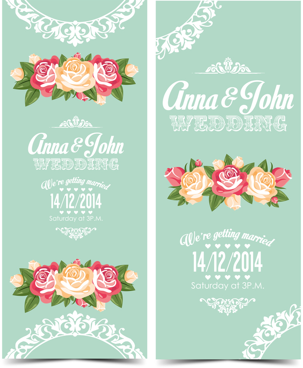 Wedding Invitation Vertical Card With Flower Vector 01