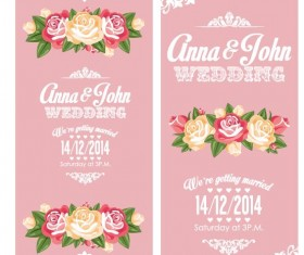 Wedding invitation vertical card with flower vector 02