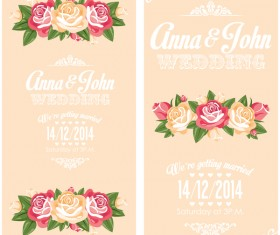 Wedding invitation vertical card with flower vector 03