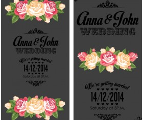 Wedding invitation vertical card with flower vector 04