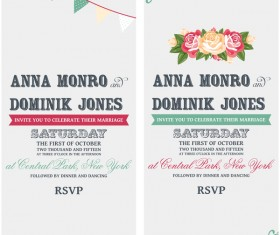 Wedding invitation vertical card with flower vector 06