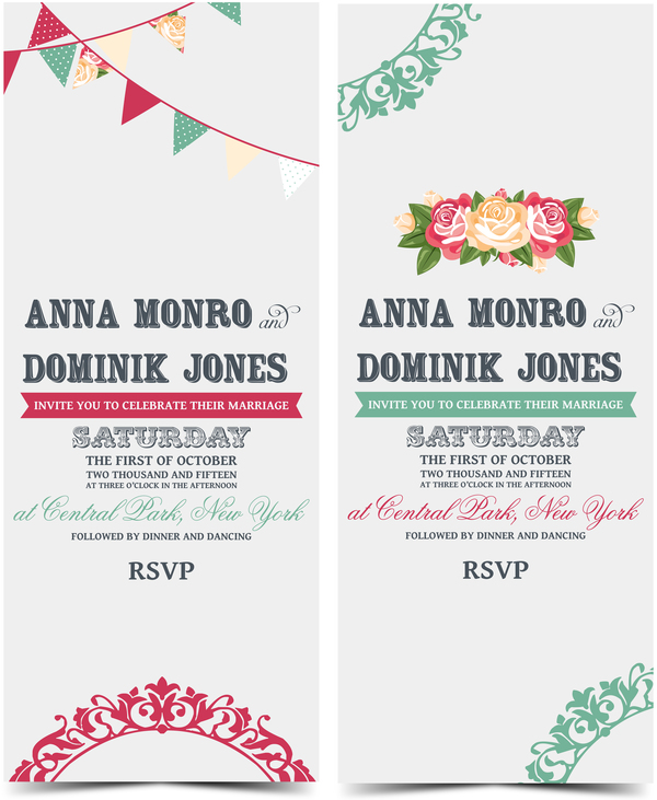 Wedding Invitation Vertical Card With Flower Vector Vector