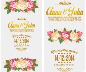 Wedding invitation vertical card with flower vector 07