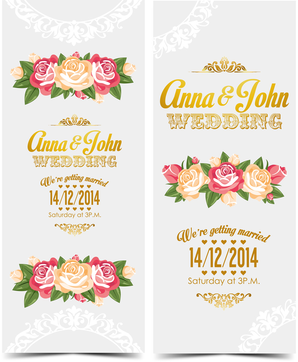 Wedding invitation vertical card with flower vector 07 vector wedding invitation vertical card with flower vector 07 stopboris Image collections
