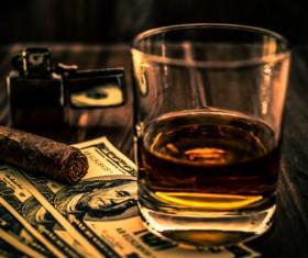 Whiskey, Cuban cigar money Stock Photo