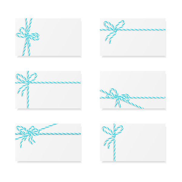 White card with rope bow vector 06