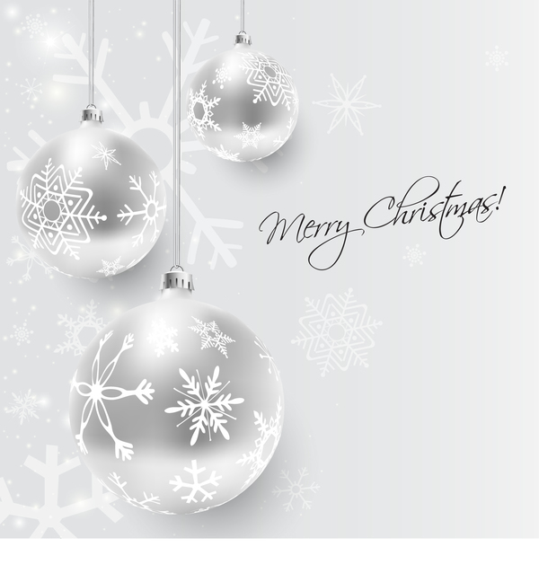 White Christmas Background.White Christmas Ball Decor With Xmas Background Vector Free