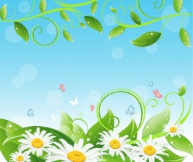 White flower with green leaf background vector