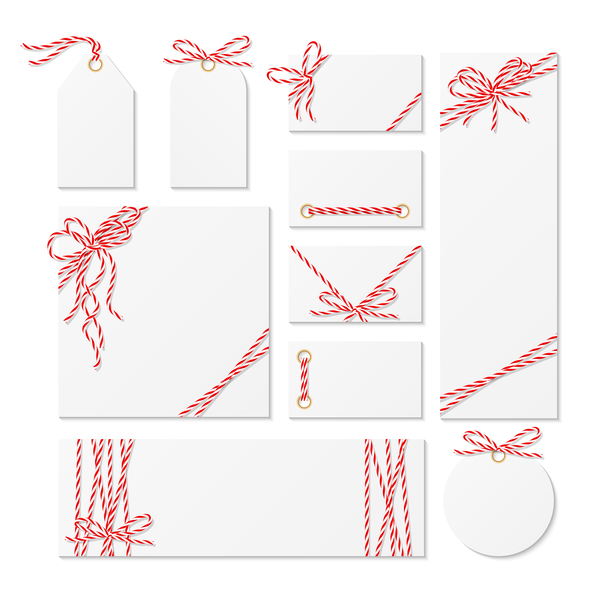 White tags with card and rope bow vector 01