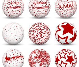 White with red christmas ball vector material