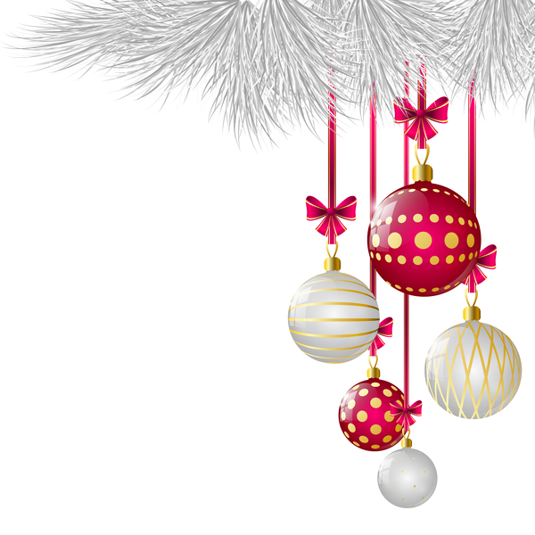 white with red xmas ball decor vector free download