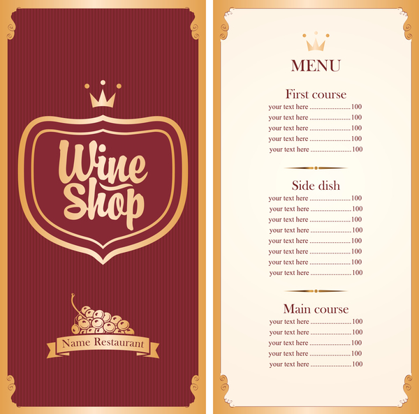 Wine Menu List Template Vector Material 01 Free Download
