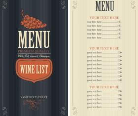 Wine menu list template vector material 02