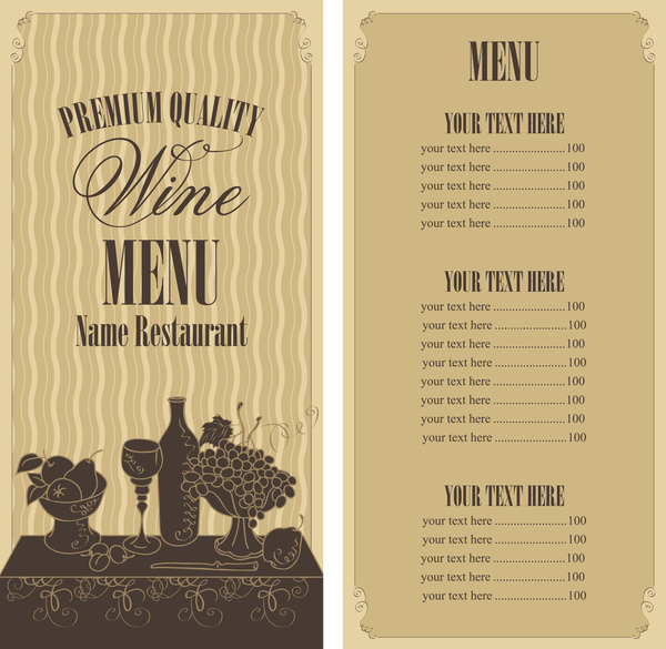 wine menu list template vector material 03 vector cover vector food free download. Black Bedroom Furniture Sets. Home Design Ideas