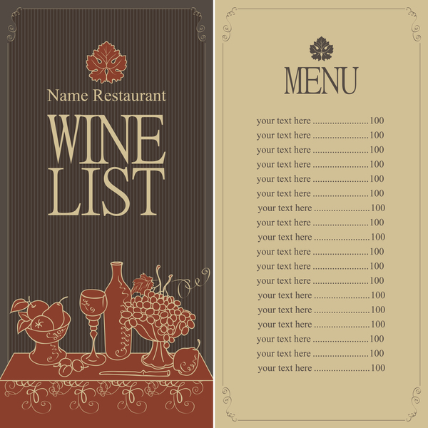 Wine menu list template vector material 04 vector cover for Wine dinner menu template