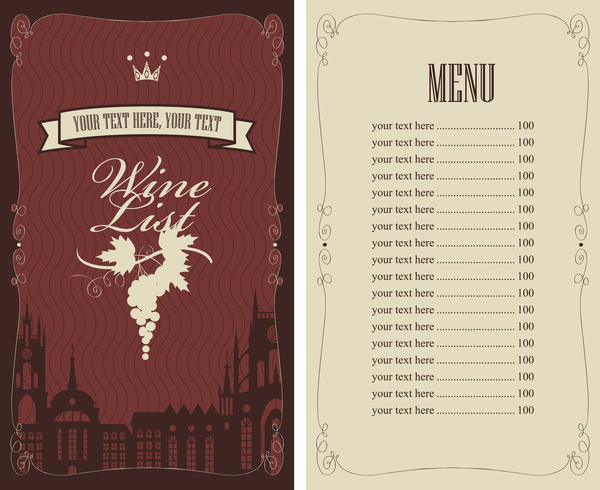 Wine menu list template vector material 09 vector cover for Wine dinner menu template