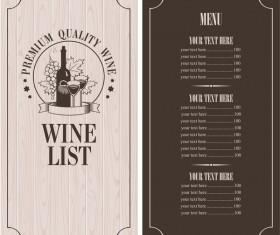 Wine menu list template vector material 10