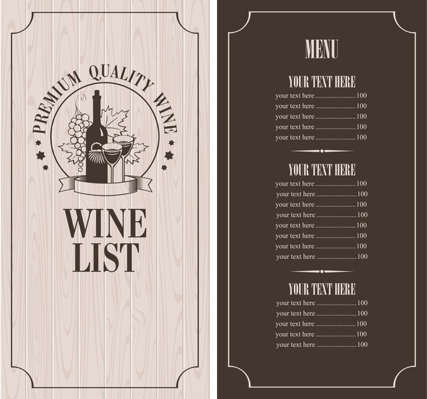 wine menu list template vector material 10