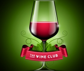 Wine with ribbon banner vector