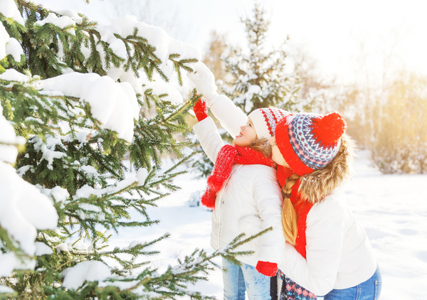 Winter Mother and daughter playing snow outdoors Stock Photo 04