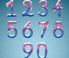 Winter dream numbers with snow caps vector 01