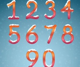 Winter dream numbers with snow caps vector 03
