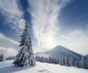 Winter landscape with A dawn in mountains Stock Photo 18